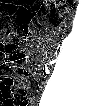 Area map of Recife, Brazil for infographic and marketing projects.