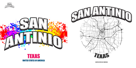 San Antonio, Texas, logo design. Two in one vector arts. Big logo with vintage letters with nice colored background and one-color-version with map for every possible print production.