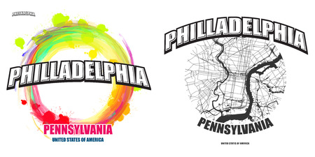 Philadelphia, Pennsylvania, logo design. Two in one vector arts. Big logo with vintage letters with nice colored background and one-color-version with map for every possible print production.