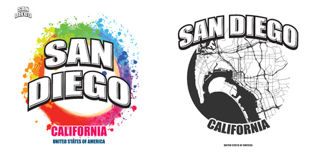 San Diego, California, logo design. Two in one vector arts. Big logo with vintage letters with nice colored background and one-color-version with map for every possible print production. Illustration