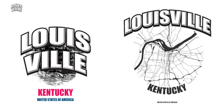 Louisville, Kentucky, logo design. Two in one vector arts. Big logo with vintage letters with nice colored background and one-color-version with map for every possible print production.