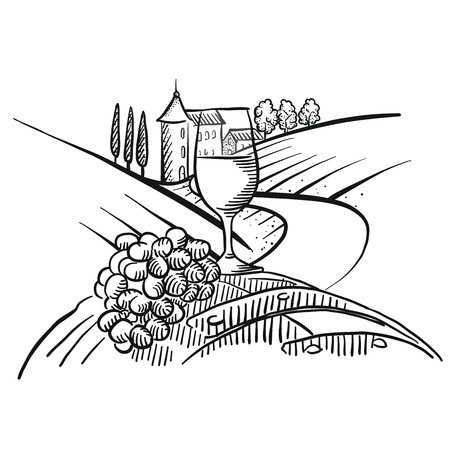 Wine and grapes in front of farmland