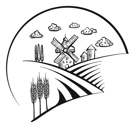 Windmill icon sketch symbol Ilustrace