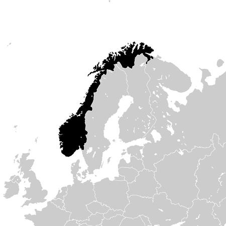Norwegen mit europäischen Nachbarländern, hochdetaillierte Vektorkarte. Vektorgrafik