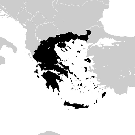 Greece with neighboring European countries. high detailed vector map.