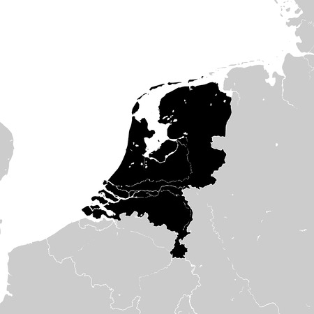 Netherlands with neighboring European countries. high detailed vector map.