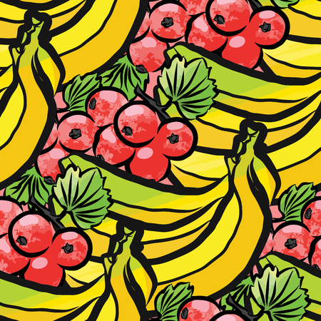 Vector seamless pattern of currant and bananas. Hand-drawn and colored illustration. Illustration