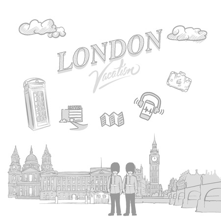 London travel marketing cover, set of hand drawn a vector sketches
