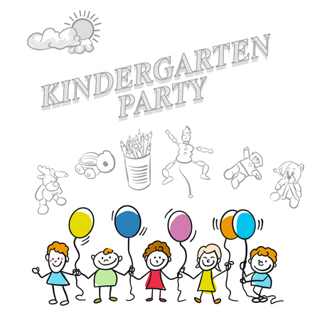Kindergarten party marketing cover, set of hand drawn a vector drawings.