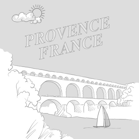 Provence, France travel marketing cover, hand drawn vector sketch Illustration