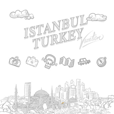 Istanbul travel marketing cover, set of hand drawn a vector sketches