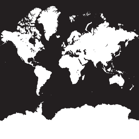 World map silhouette on square black background, vector Map with Antarctic