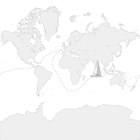 Globe Map with travel route and boat. Hand-drawn vector icon.