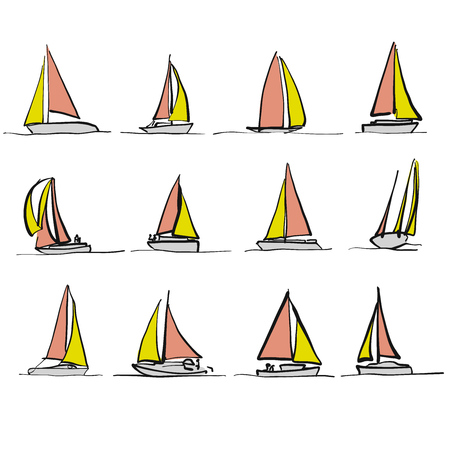 Colored sailboat drawings, bicolor vector sketches Illustration