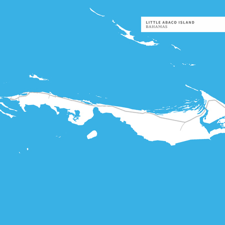 Map of Little Abaco Island Island, Bahamas, contains geography outlines for land mass, water, major roads and minor roads.