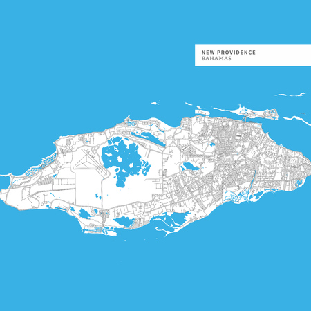 Map of New Providence Island, Bahamas, contains geography outlines for land mass, water, major roads and minor roads.
