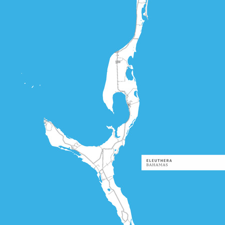 Map of Eleuthera Island, Bahamas, contains geography outlines for land mass, water, major roads and minor roads. Çizim