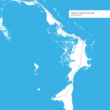 Map of Great Abaco Island, Bahamas, contains geography outlines for land mass, water, major roads and minor roads. 矢量图像