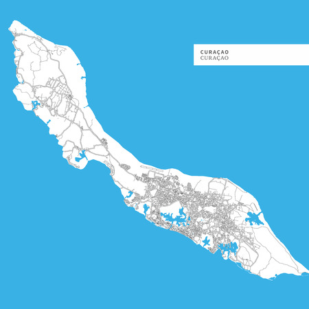 Map of Curacao Island, Curacao, contains geography outlines for land mass, water, major roads and minor roads.