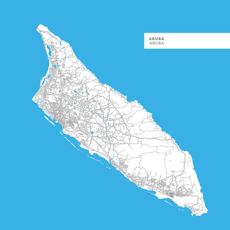 Map of Aruba Island, Aruba, contains geography outlines for land mass, water, major roads and minor roads.