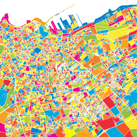 Casablanca, Morocco, colorful vector map.  White streets, railways and water. Bright colored landmark shapes. Art print pattern.