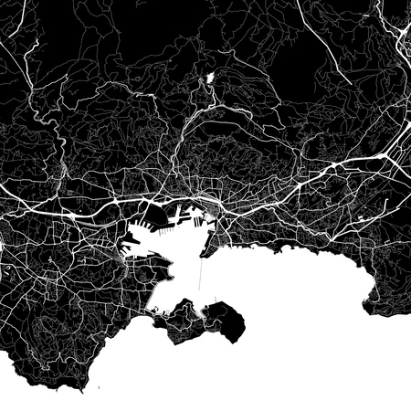 Area map of Toulon, France. Dark background version for infographic and marketing projects. This map of Toulon, Var, contains typical landmarks with streets, waterways and railways for additional information and easy access to color changes. Ilustrace