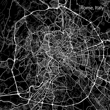 Area map of Rome, Italy. Dark background version for infographic and marketing projects. This map of Rome, Lazio, contains typical landmarks with streets, waterways and railways for additional information and easy access to color changes. 向量圖像