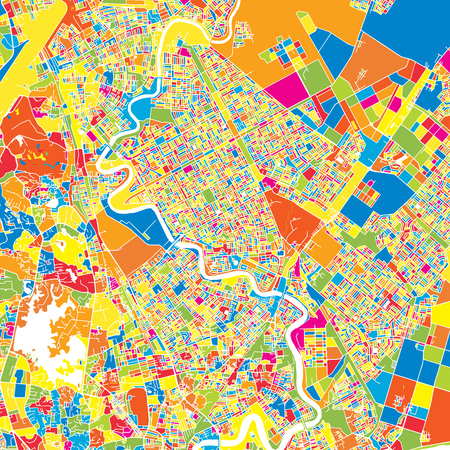 Yangon, Myanmar, colorful vector map.  White streets, railways and water. Bright colored landmark shapes. Art print pattern.