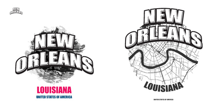New Orleans, Louisiana, logo design. Two in one vector arts. Big logo with vintage letters with nice colored background and one-color-version with map for every possible print production.