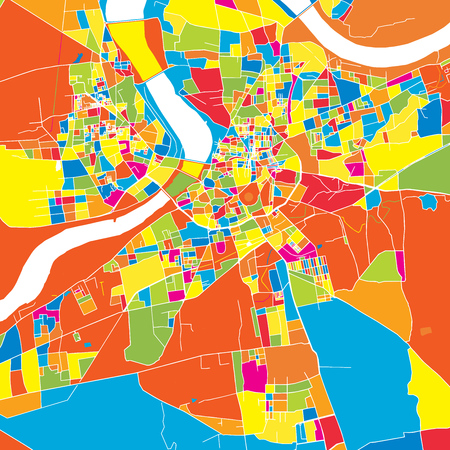 Surat, India, colorful vector map.  White streets, railways and water. Bright colored landmark shapes. Art print pattern.