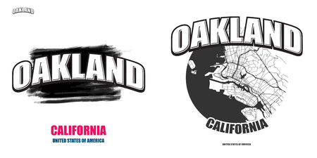 Oakland, California, logo design. Two in one vector arts. Big logo with vintage letters with nice colored background and one-color-version with map for every possible print production.  イラスト・ベクター素材