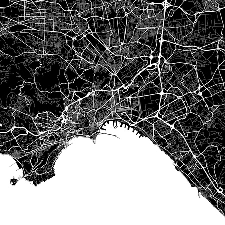 Area map of Naples, Italy. Dark background version for infographic and marketing projects. This map of Naples, Campania, contains typical landmarks with streets, waterways and railways for additional information and easy access to color changes.
