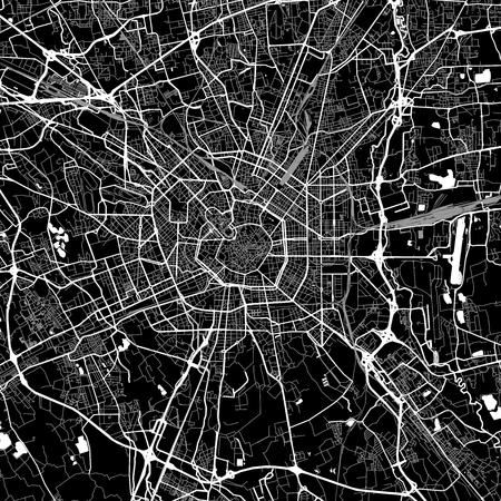 Umgebungskarte von Mailand, Italien. Dunkle Hintergrundversion für Infografik- und Marketingprojekte. Diese Karte von Mailand, Lombardei, enthält typische Sehenswürdigkeiten mit Straßen, Wasserstraßen und Eisenbahnen für zusätzliche Informationen und einfachen Zugang zu Farbänderungen.