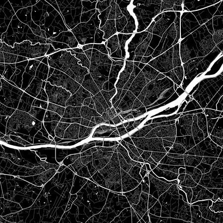 Area map of Nantes, France. Dark background version for infographic and marketing projects. This map of Nantes, Loire-Atlantique, contains typical landmarks with streets, waterways and railways for additional information and easy access to color changes.