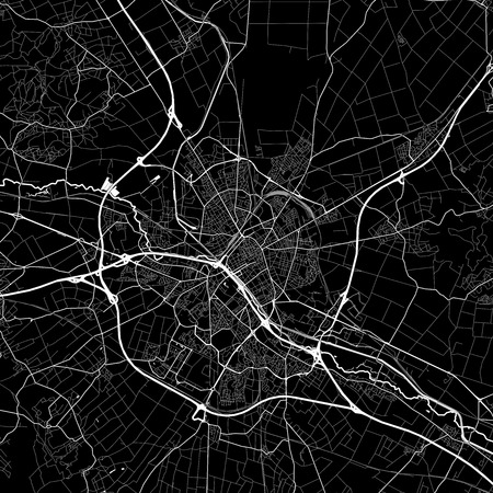 Area map of Reims, France. Dark background version for infographic and marketing projects. This map of Reims, Marne, contains typical landmarks with streets, waterways and railways for additional information and easy access to color changes.