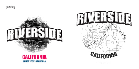 Riverside, California, logo design. Two in one vector arts. Big logo with vintage letters with nice colored background and one-color-version with map for every possible print production.