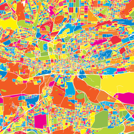 Johannesburg, South Africa, colorful vector map.  White streets, railways and water. Bright colored landmark shapes. Art print pattern.