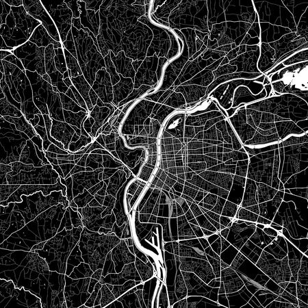 Area map of Lyon, France. Dark background version for infographic and marketing projects. This map of Lyons, Rho'ne, contains typical landmarks with streets, waterways and railways for additional information and easy access to color changes.