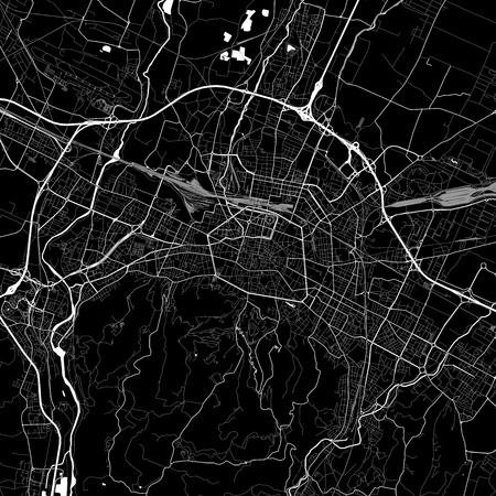 Mapa del área de Bolonia, Italia. Versión de fondo oscuro para proyectos de infografía y marketing. Este mapa de Bolonia, Emilia-Romagna, contiene puntos de referencia típicos con calles, vías fluviales y ferrocarriles para obtener información adicional y un fácil acceso a los cambios de color.