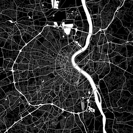 Area map of Bordeaux, France. Dark background version for infographic and marketing projects. This map of Bordeaux, Gironde, contains typical landmarks with streets, waterways and railways for additional information and easy access to color changes.