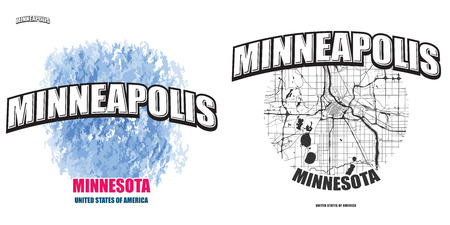 Minneapolis, Minnesota, logo design. Two in one vector arts. Big logo with vintage letters with nice colored background and one-color-version with map for every possible print production.
