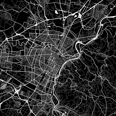 Area map of Turin, Italy. Dark background version for infographic and marketing projects. This map of Turin, Piedmont, contains typical landmarks with streets, waterways and railways for additional information and easy access to color changes.