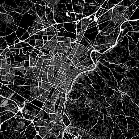 Landkaart van Turijn, Italië. Donkere achtergrondversie voor infographic- en marketingprojecten. Deze kaart van Turijn, Piemonte, bevat typische oriëntatiepunten met straten, waterwegen en spoorwegen voor aanvullende informatie en gemakkelijke toegang tot kleurveranderingen.