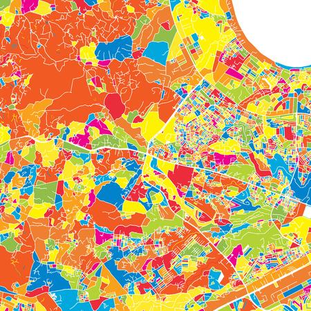 Dar es Salaam, Tanzania, colorful vector map.  White streets, railways and water. Bright colored landmark shapes. Art print pattern. Ilustração