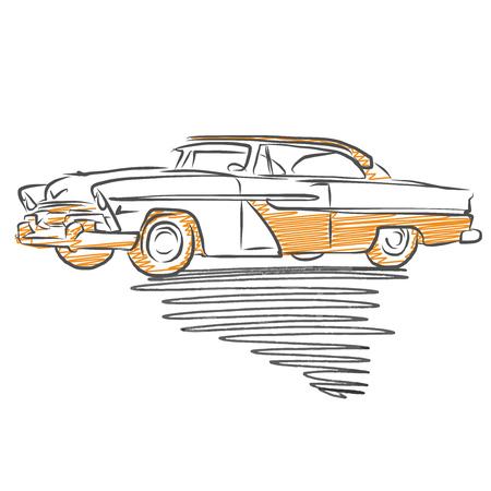Old american car drawing. Hand drawn vector illustration.