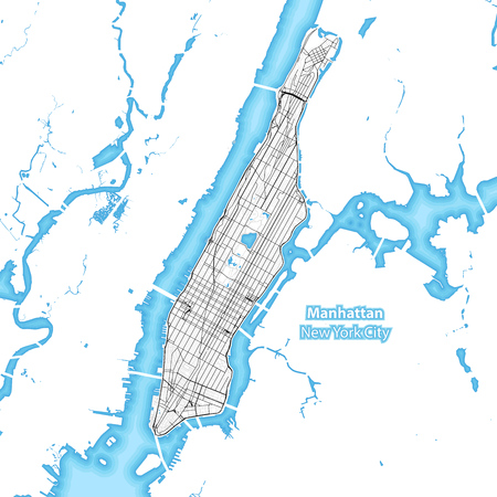 Map of the island of Manhattan, New York City, Indonesia with the largest highways, roads and surrounding islands and islets