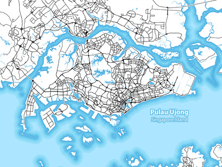 Two-toned map of the island of Pulau Ujong, Singapore with the largest highways, roads and surrounding islands and islets 일러스트