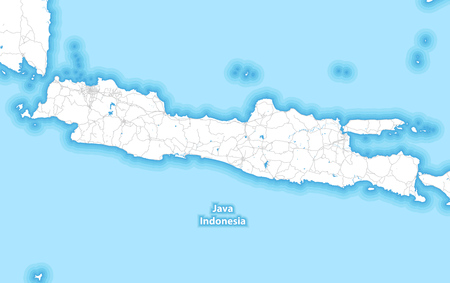 Two-toned map of the island of Java, Indonesia with the largest highways, roads and surrounding islands and islets Illustration
