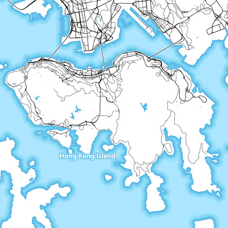 Map of Hong Kong Island with the largest highways, roads and surrounding islands and islets  イラスト・ベクター素材