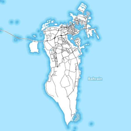 Carte bicolore de l'île de Bahreïn avec les plus grandes autoroutes, routes et îles et îlots environnants Vecteurs